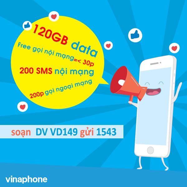Đăng ký gói cước VD149 Vinaphone miễn phí 120GB data tốc độ cao + gọi thoại, SMS