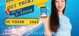 Đăng ký gói VD25K Vinaphone ưu đãi 1GB data + free gọi nội mạng