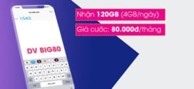 Đăng ký gói BIG80 Vinaphone chỉ 80K miễn phí 120GB data 4G/5G cả tháng