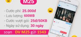Đăng ký gói cước M25 Vinaphone chỉ 25K có ngay 600MB Data tốc độ cao